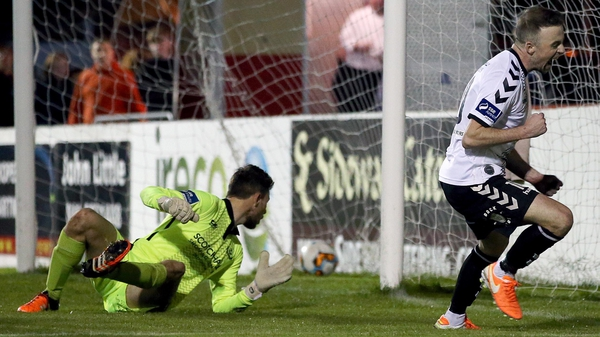 Keith Ward celebrates his second goal for Bohemians