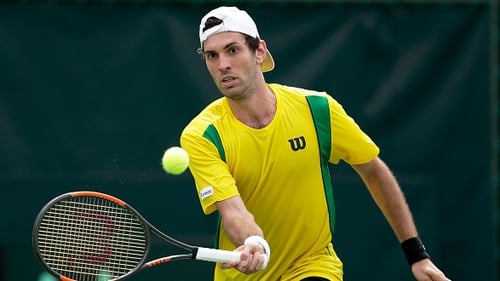 Brazil's Guilherme Clezar in action during the Davis Cup.