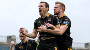David McMillan celebrates scoring Dundalk's first goal with Chris Shields and Seán Hoare