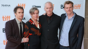 (L-R) Three Billboards Outside Ebbing, Missouri stars Sam Rockwell and Frances McDormand at the Toronto International Film Festival with writer-director Martin McDonagh and producer Graham Broadbent