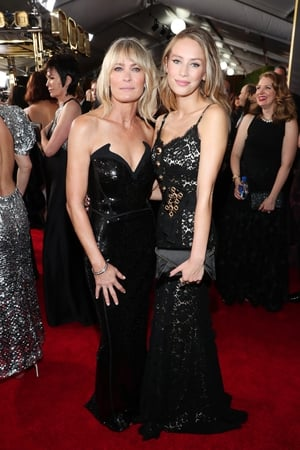 Robin Wright and her daughter Dylan Penn walked the red carpet together. Robin wore a Mugler gown with Rene Coavilla shoes and Nirav Modi jewellery.