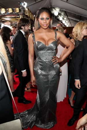 Laverne Cox wore a custom gown from Naeem Khan with Lorraine Schwartz jewellery and custom shoes from Ruthie Davis.