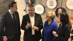Taoiseach Leo Varadkar (L) and Tánaiste Frances Fitzgerald (2nd R) at the LinkedIn opening