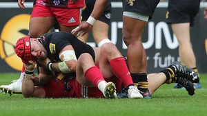 James Haskell grapples with Joe Marler, which led to Haskell being shown the yellow card