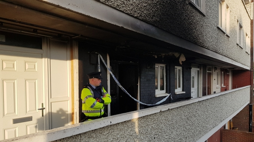 The alarm raised after fire broke out at Tyrone Place at around 11pm last night
