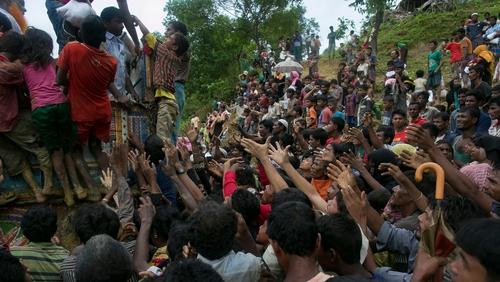 More than 420,000 members of the Muslim minority have fled Myanmar