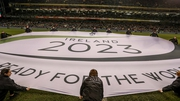 A banner outlining the IRFU bid at the Aviva Stadium