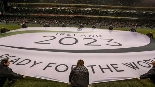 A banner outlining the IRFU bid at the Aviva Stadium
