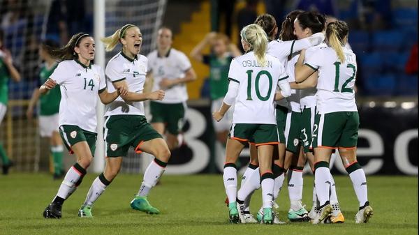 The Republic of Ireland women's team celebrate their opening goal