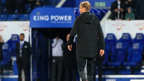 Jurgen Klopp leaves the field after the 2-0 loss to Leicester City