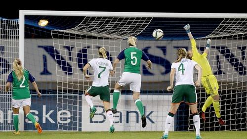 Megan Campbell scores Ireland's second goal