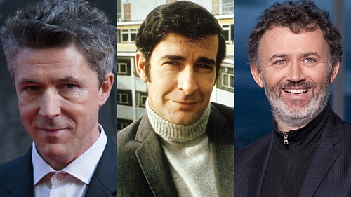 Aidan Gillen (left) will portray Dave Allen (centre) with Tommy Tiernan playing Allen's father, Cully