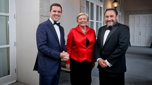 IDA CEO Martin Shanahan, Minister for Business, Enterprise & Innovation Frances Fitzgerald and Mauricio Noé, head of Europe at Kroll Bond