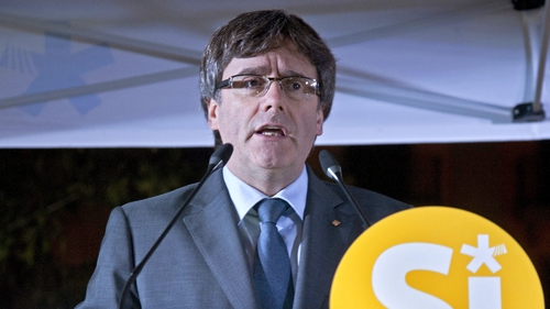 Carles Puigdemont speaking at a rally at the weekend