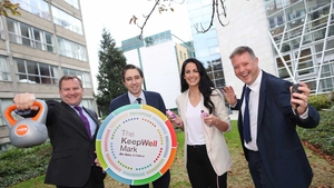 Danny McCoy, Minister for Health Simon Harris, Jessie Barr and Britvic Ireland HR Director Paul Diver