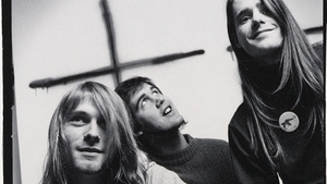 Nirvana, with original drummer Chad Channing, circa the release of their debut album Bleach.
