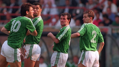 (Left to right): Tony Cascarino, Paul McGrath, Ray Houghton and Chris Morris in 1990