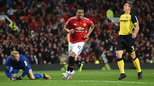Anthony Martial scored as United strolled to victory over Burton
