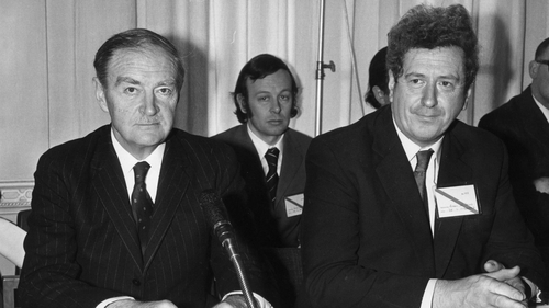 Former taoiseach and Fine Gael leader Liam Cosgrave (L) has passed away aged 97