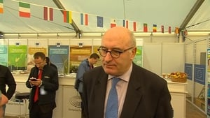 Phil Hogan speaking to RTÉ News at the National Ploughing Championships in Co Offaly