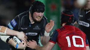 Glasgow forward Zander Fagerson in action against Munster last January