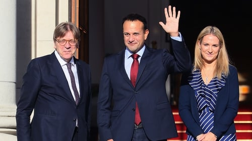 Guy Verhofstadt, Taoiseach Leo Varadkar and Minister of State for European Affairs Helen McEntee outside Government Buildings