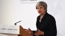 Theresa May addressing an audience in Florence