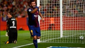 Luis Suarez celebrates a goal