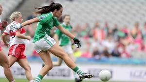Aisling Woods firing home a goal for Fermanagh