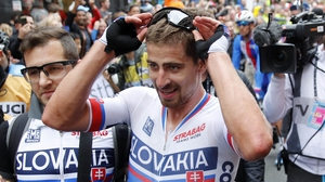 Peter Sagan reacts to anther World Championships victory