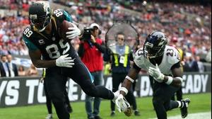 Marcedes Lewis of the Jacksonville Jaguars scores a touchdown