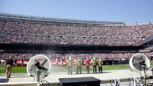 The Pittsburgh Steelers bench area stays empty during the national anthem prior to the start of the game against the Chicago Bears at Soldier Field