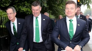 (Left to right): Dick Spring (Bid Chairman), Philip Browne (Chief Executive IRFU), and Brian O'Driscoll in London