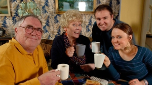 Liz Dawn (centre with Corrie co-stars Bill Tarmey on the left, Alan Halsall and Vicky Binns) died