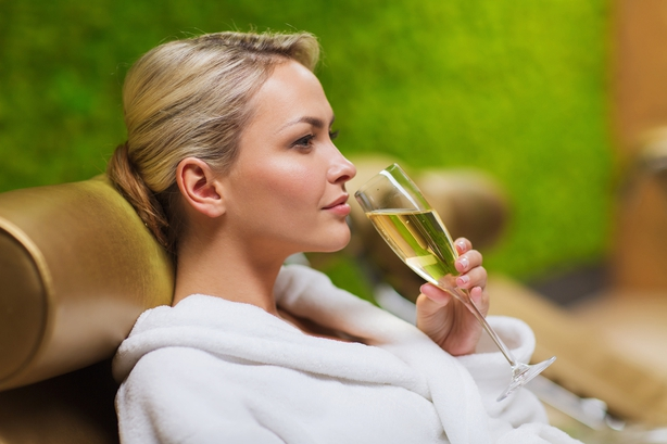 woman drinking in spa