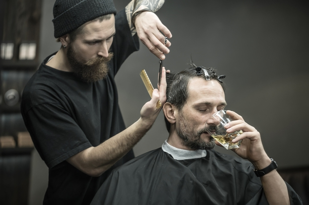 Drinking and cutting in barbershop