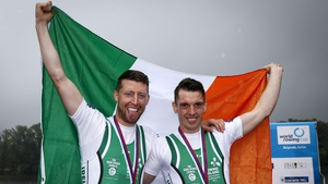Mark O'Donovan and Shane O'Driscoll celebrate one of their 2017 world cup wins