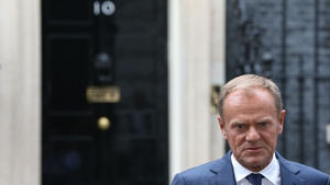 Donald Tusk addressing the media outside 10 Downing Street