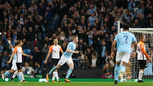 Kevin De Bruyne celebrates Manchester City's opening goal