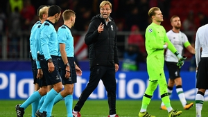 Jurgen Klopp argues with referee Clement Turpin after the full-time whistle