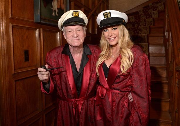 Hugh Hefner and Crystal Hefner attend Playboy Mansion's Annual Halloween Bash at The Playboy Mansion