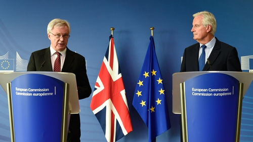 David Davis and Michael Barnier addressing the media after talks