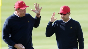 Phil Mickelson and Kevin Kisner of the US