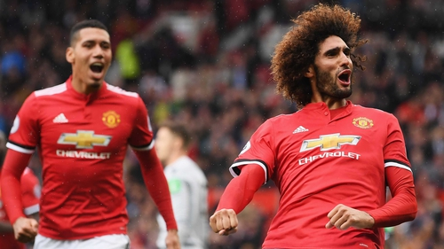 Marouane Fellaini (R) was on song at Old Trafford