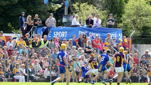 The RTE panel watch on during a Clare-Wexford qualifier in 2014.