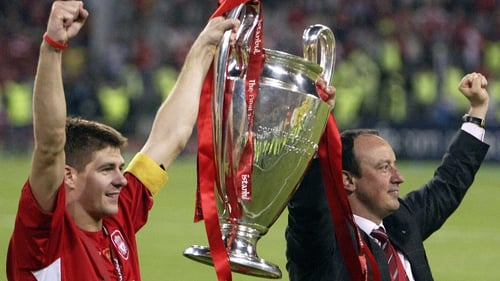 Steven Gerrard (L) with Rafa Benitez in 2005 after Liverpool's Champions League final victory against AC Milan