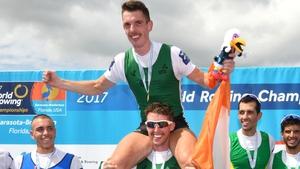 Mark O'Donovan and Shane O'Driscoll celebrate their gold medal