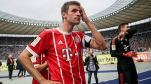 A dejected Thomas Mueller after Bayern Munich;s draw with Hertha Berlin
