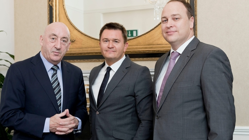 Glenveagh Properties' executive chairman John Mulcahy, CEO Justin Bickle and COO Stephen Garvey