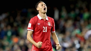 Nemanja Matic celebrates Serbia's crucial win in Diblin